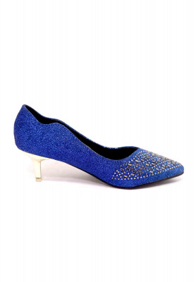 Blue artificial leather stone pencil heel