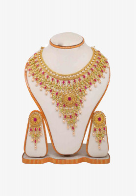 V Shaped Gold Plated Jarwa Necklace