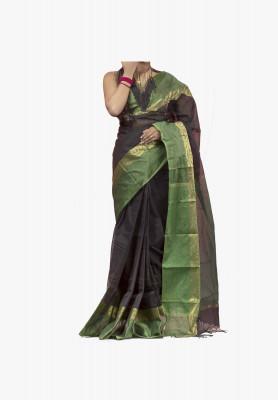 Black with green-color cotton silk Saree